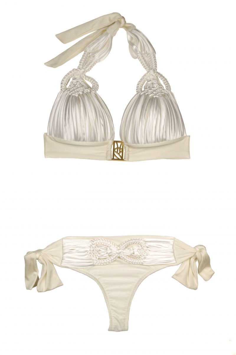 Luxury Champagnerfarbener Makramee Triangle Bikini